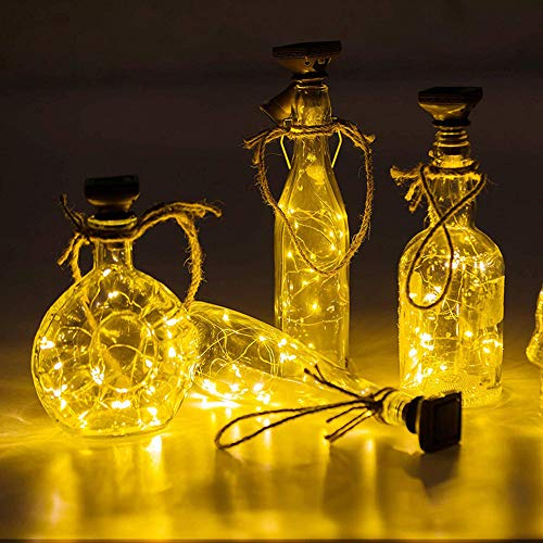 LED Flaschenlicht, 20 LEDs 2M Lichterkette Kupferdraht batteriebetriebene Weinflasche Lichter mit Kork Schnurlicht für DIY Deko Weihnachten Party Urlaub Stimmungslichter (Warmweiß)