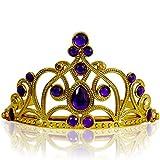 Katara 1682 - Diadema Corona Pietre Coroncina Tiara Principessa Bambine  Halloween Carnevale - Oro Viola 02fe43d97735