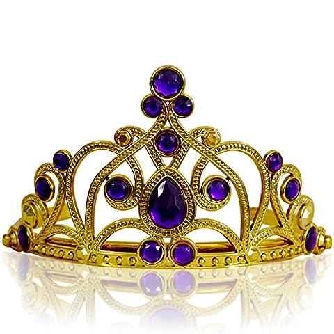 Katara - Girls Princess Tiara: Fancy Costume Accessory for Parties, Halloween or Weddings: Elegant Rhinestone Headband Ages 3-11 (Gold