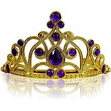 Katara - Diadema de princesa, accesorio de disfraz para niñas, corona de cuentos de hadas, de oro, con cristales morados