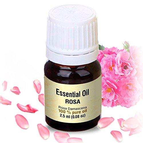 Rosenöl 2,5ml - Rosa Damascena Bulgarisch - 100% Ätherisches Rose Öl - Besten für Beauty - Wellness - Schönheit - Aromatherapie - Duftlampen - Raumduft - Aphrodisiakum - Rosen Öl von Aromatika