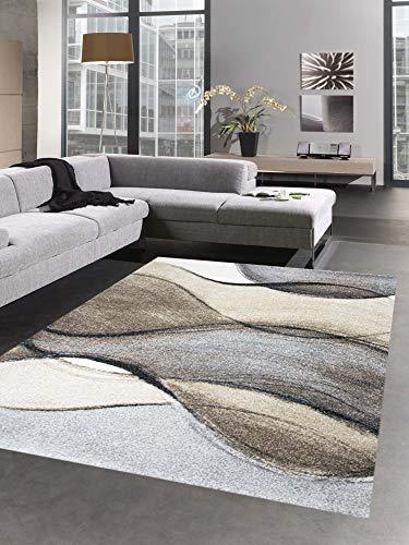 Carpetia Designer Teppich Moderner Teppich Wohnzimmerteppich Kurzflor braun grau beige Größe 120x170 cm