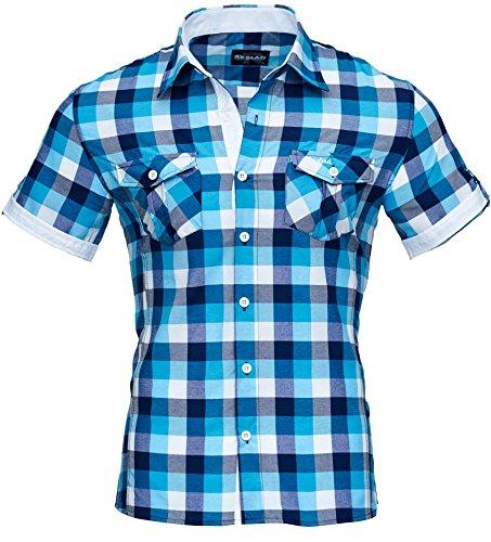 Reslad Herren Hemd Kurz-arm Männer kurzarmhemd Bügelfrei Oberhemd slim Fit karriertes Kontrast Muster RS-7065 Türkis Weiß XL