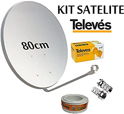 KIT ANTENA PARABOLICA 80cm TELEVES + ROLLO DE CABLE DE 20 MT