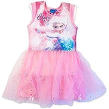Disney Frozen - Abito Vestito con Top Elasticizzato e Gonna con Doppio  Tulle e Fiocchetti - b851018eb48