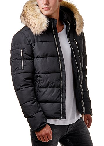 EightyFive Herren Winter-Jacke Fell-Kapuze Gesteppt Zipper Schwarz Khaki EF319 Schwarz