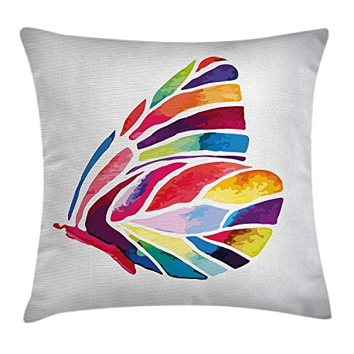 Modern Decor Throw Pillow Cushion Cover by , Butterfly with Rainbow Colored Wings Geometric Lines Modern Artwork Image, Decorative Square Accent Pillow Case, 18 X18 Inches, Multicolor Rainbow Butterfly Zebra
