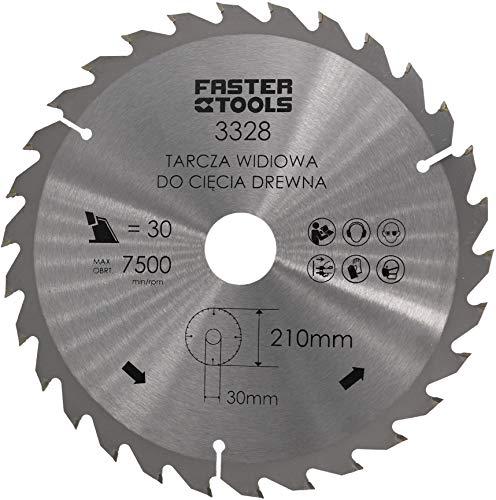 Kreissägeblatt 210mm x 30mm x 1,9mm mit 30 Zähne für Holz in Profi-Ausführung für Handkreissäge Tischkreissäge Gehrungssäge Nagelfest uvm.