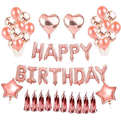 Ezeso Rose Gold Birthday Balloons Dekorationen Set für Mädchen Frauen Aufblasen Folie Happy Birthday Banner Sterne Herz Folie Ballon Konfetti Latex Ballons mit Ribbon Kit