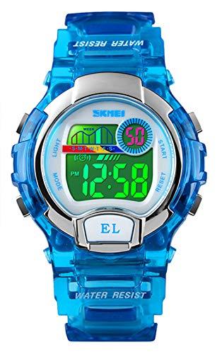 Digitaluhren für Jungen Mädchen Uhren, 5ATM wasserdichte Kinder Uhren Sportuhr mit Wecker/LED Leuchtend, Kinderuhren Digitale Armbanduhren für Geburtstag Weihnachten Studenten Geschenk Blau