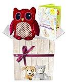 Warmies Geschenkset - Kuscheltier Minis Eule (rot) mit Lavendelduft Wärmekissen + Edle Geschenkverpackung + Büchlein mit spannenden Kindergeschichten