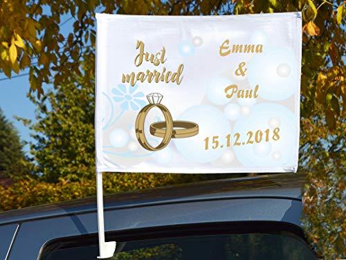 """Autoflagge/Autofahne – bedruckt """"Just Married 4\"""" mit Ihren Namen und dem Datum"""