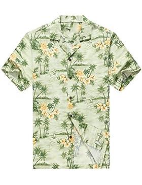 Hecho en Hawaii Camisa hawaiana de los hombres Camisa hawaiana Palmas Flores Casas en Verde