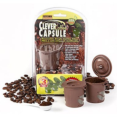 Sef De 3 Capsules De Café Intelligente Filtre À Café Réutilisable Thé Entonnoir Inox Épuisettes 4.5 * 4.5 * 7.5 Cm