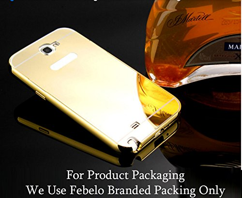 Febelo Branded Luxury Metal Bumper + Acrylic Mirror Back Cover Case For Samsung Galaxy Note 2 - Gold Plated