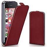 moex iPhone 4S | Hülle Dunkel-Rot 360° Klapp-Hülle Etui thin Handytasche Dünn Handyhülle für iPhone 4/4S Case Flip Cover Schutzhülle Kunst-Leder Tasche