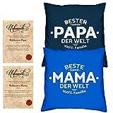 Soreso Design Hochzeitstag Geschenk für Mama und Papa -:- 2 Kissen mit Füllung plus 2 Urkunden im Set -:- Beste Mama der Welt in royal-blau - Bester Papa der Welt in navy-blau
