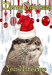 Otter ptcc186Santa Hat Xmas Weihnachten Karte A5mit Grußkarten von, aus Derbyshire UK 2016mit.