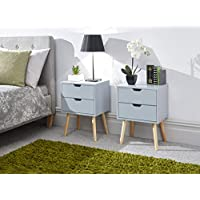 GFW The Furniture Warehouse Scandinavian Style Nyborg Bedside Cabinet with Wooden Legs - Grey, White, Yellow#2xLight Grey