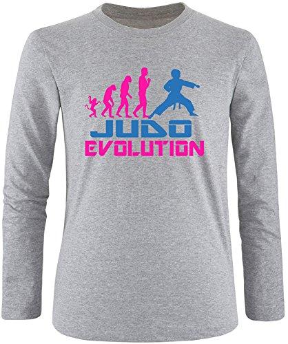 EZYshirt® Judo Evolution Herren Longsleeve Grau/Pink/Blau