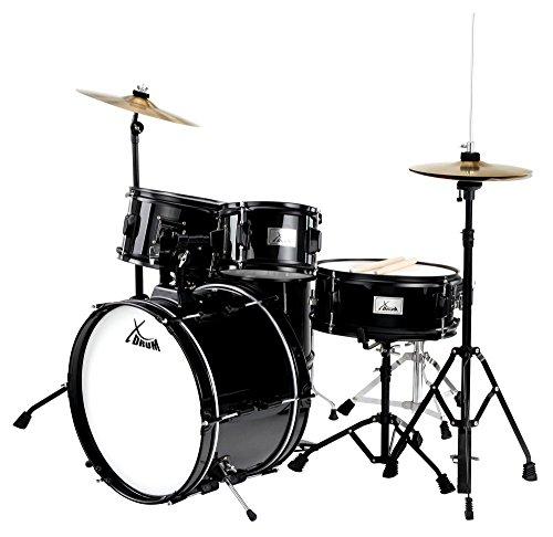 XDrum Junior Pro II Kinder Schlagzeug (Einsteiger Drumset, geeignet von 5-9 Jahren, inklusive Becken, Hocker und Drumsticks) Schwarz