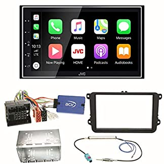 JVC-KW-M745DBT-CarPlay-Android-Auto-Digitalradio-USB-Autoradio-Touchscreen-Bluetooth-Moniceiver-Einbauset-fr-Golf-5-6-Passat-3C-B7-Touran