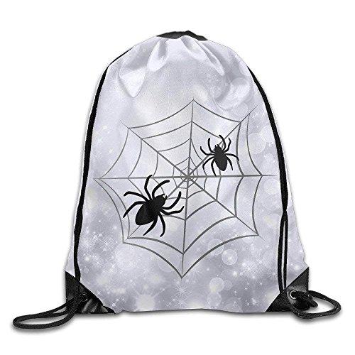 Roue Halloween Spider Web Unisex Gym Drawstring Shoulder Bag Backpack String Bags White