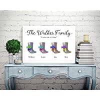 Personalised Family Picture Print Tree A4 Perfect Christmas Birthday Gift Present For Mum Dad Nanna Aunty Sister Wellington Boots Wellies P23