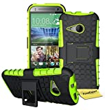 HTC One Mini 2 (M8 Mini) Handy Tasche, FoneExpert® Hülle Abdeckung Cover schutzhülle Tough Strong Rugged Shock Proof Heavy Duty Case für HTC One Mini 2 (M8 Mini) + Displayschutzfolie (Grün)