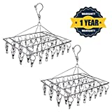 2 Pack Stainless Steel Laundry Drying Rack, Swivel Hook Wind-proof Clothes Hanger Rack