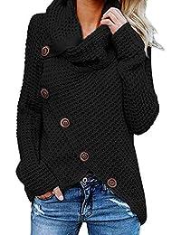 FIYOTE Damen Winterjacke Warm Strickjacke Rollkragen Cardigan Strickpullover Casual Wrap Wickel Pullover Sweater 7 Farbe S/M/L/XL/XXL