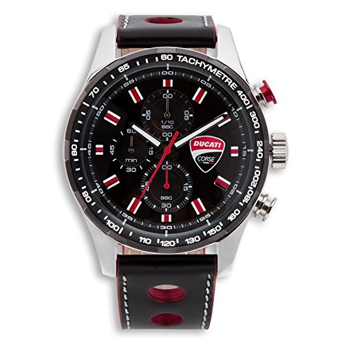 Ducati Quarz Chronograph Uhr Corse Evolution Wasserdicht Leder Design Herren