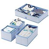 mDesign Set da 4 Contenitori per la cameretta dei bambini in polipropilene – Contenitore portagiochi e organizer armadio – Scatole portaoggetti bimbo, cosmetici, medicine e molto altro – blu