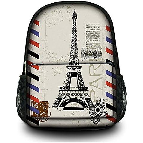 Nuova moda Tela Zaino Satchel Zaino multiuso per Ufficio, Scuola, 16esterni, Specialized scomparto imbottito per laptop Eiffel Tower