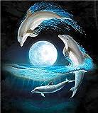 Trada 5D DIY Diamant Malerei Stickerei Kreuz Handwerk Stich Wohnkultur Kunst Dolphin Muster Handgemachtes Klebebild Runder Diamant Malerei Stickpackungen mit Digitale Sets Kreuzstich (Blau)