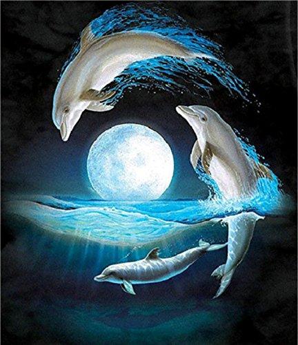 sunnymi Blau Night Sky 5d Diamant Painting DIY Stickerei Malerei Kreuzstich Kunstharz Dekoration (Delphin 30*40cm)