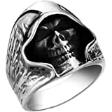 YOFEEL Men's Large Vintage Gothic Casted Death Grim Reaper Skull Stainless Steel Punk Ring Silver Black