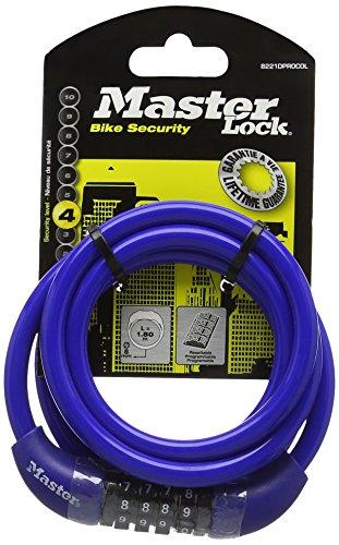 Master Lock 8221EURDPROCOL Cavo Spirale, Combinazione Programmabile a 4 Cifre, Rivestimento Vinile, Rosso/Blu/Grigio/Bianco, 1,80 m, Diametro 8 mm