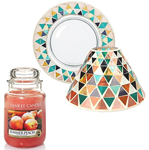 Official Yankee Candle Corsica Mosaic Lamp Shade & Tray Holder Gift Set Includes Summer Peach Large Jar