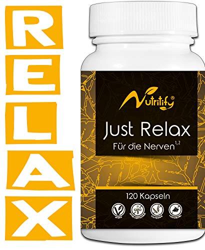 FÜR DIE NERVEN² von nutritify® JUST RELAX - natürlicher Stimmungsaufheller mit B6² für die Psyche & Nervensystem   B12³ gegen Müdigkeit und Ermüdung - 120 rezeptfreie Kapseln mit Rosenwurz & L-Taurin