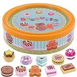 BeeSmart - Holz Kekse in Einer Schachtel für Kinderspielküche, Zubehör Kinderküche / zubehoer kaufladen, 11 Stück für Kinder