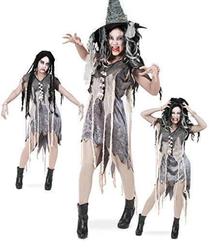 Zombie Kleid 40 Halloween Damen Kleid 1tlg. Pannesamt Damen Kostüm Horror Geist Zauberer Hexe (Maske Accessoire Hexe Kostüm)