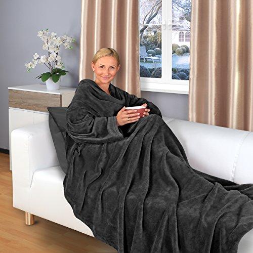 *Gräfenstayn Kuscheldecke mit Ärmeln 200 x 150 cm TV-Decke in verschiedenen Farben Sofadecke (Schwarz)*