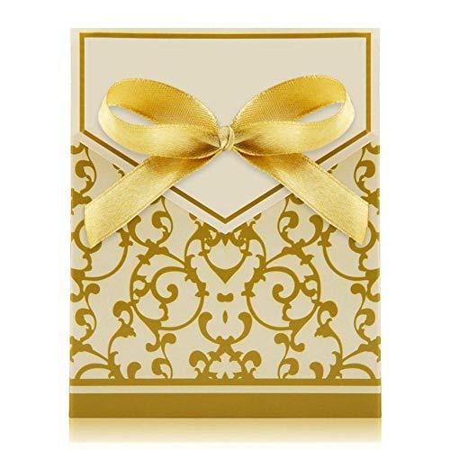 ZT TRADE Geschenkkarton Mini Box Hochzeit Gunsten Golddekoration Geschenkpapier Bändern Geschenkverpackung Lagerung Birthday Bomboniere Geschenkboxen Mit Gold (Hochzeit Gunsten Box-gold)