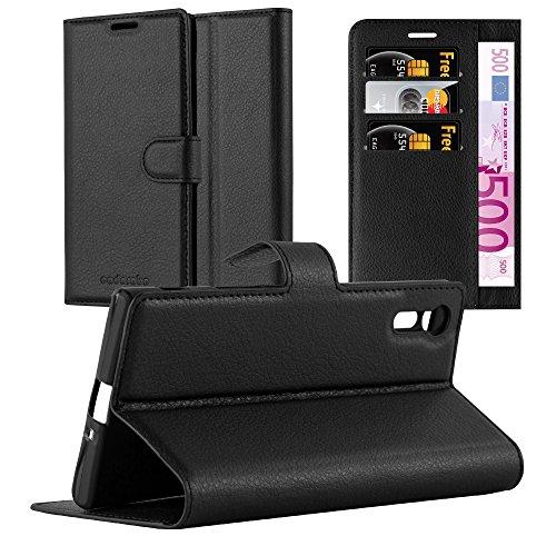 Cadorabo Hülle für Sony Xperia XZ/XZs - Hülle in Phantom SCHWARZ - Handyhülle mit Kartenfach & Standfunktion - Case Cover Schutzhülle Etui Tasche Book Klapp Style