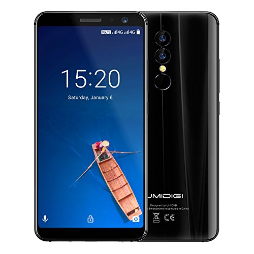 UMIDIGI A1 Pro, 5,5 Zoll Dual Sim 4G Smartphone ohne Vertrag Android 8,1 Oreo Handy mit 18:9 Full Screen Display, 3GB RAM + 16GB ROM 1.5GHz Quad Core, Triple Kameras(13MP+5M Hauptkameras / 5MP Frontkamera) Face ID & Fingerabdrucksensor, 3150mAh Akku Quick-Charging - Schwarz
