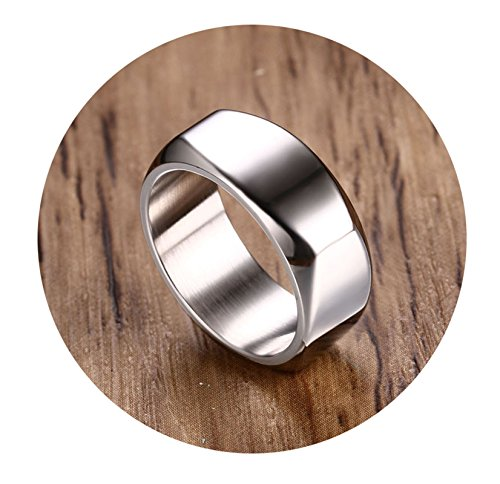 SonMo Ring 925 Breit Herren Siegelring Damen mit Gravur Rechteck Siegelring Kleiner Finger Silber 8Mm Ringe Paar mit Gravur für Männer 67 (21.3)