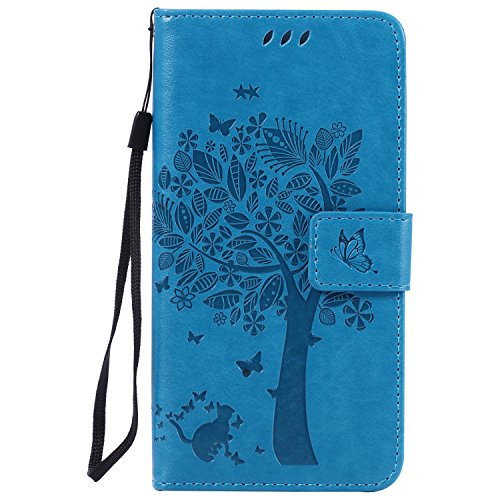 Cozy Hut [New Style] Sony Xperia M5 Hülle in Katze und Baum muster seitlich aufklappbare Schutzhülle / integrierte Kartenfächer / Klapptasche Etui Wallet Stil Handy Tasche - blau