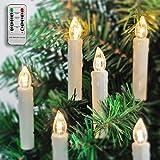 20 LED Kerzen, für außen/innen, für Weihnachtsbaum, mit Fernbedienung und Timer, IP64 Wasserdicht Außerbeleuchtung, 4 Modi des Flackerns für Weihnachten Hochzeiten Party, Christbaumkerze