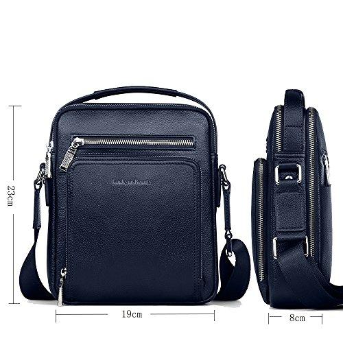 Luckyer Beauty Herren Leder Schultertasche Reisetasche Kleine Umhängetasche Handtaschen größer schwarz Blau
